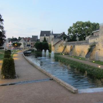 Stadswal met fonteinen